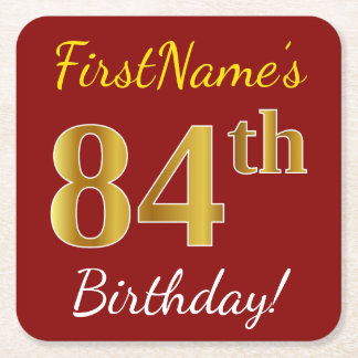 Red, Faux Gold 84th Birthday + Custom Name Square Paper Coaster