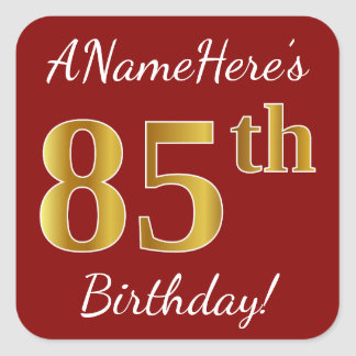 Red, Faux Gold 85th Birthday + Custom Name Sticker