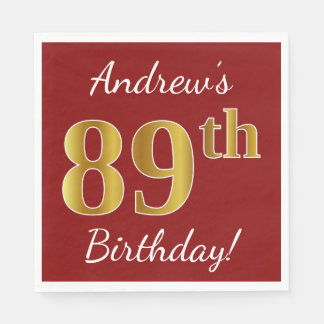 Red, Faux Gold 89th Birthday + Custom Name Paper Napkin