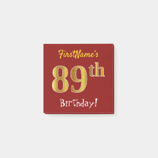 Red, Faux Gold 89th Birthday, With Custom Name Post-it Notes