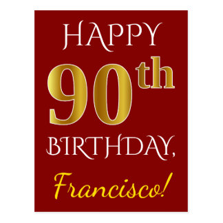 Red, Faux Gold 90th Birthday + Custom Name Postcard