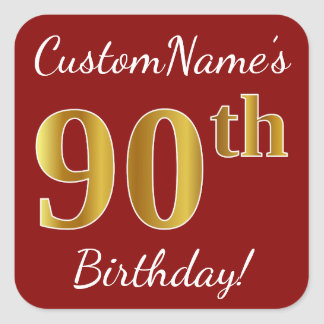 Red, Faux Gold 90th Birthday + Custom Name Sticker