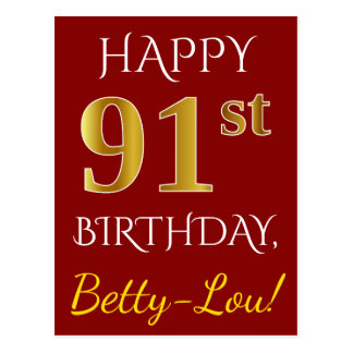 Red, Faux Gold 91st Birthday + Custom Name Postcard