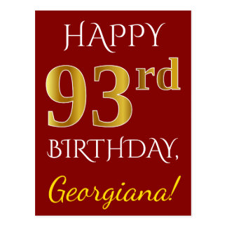 Red, Faux Gold 93rd Birthday + Custom Name Postcard