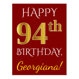 Red, Faux Gold 94th Birthday + Custom Name Postcard