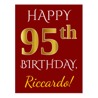 Red, Faux Gold 95th Birthday + Custom Name Postcard
