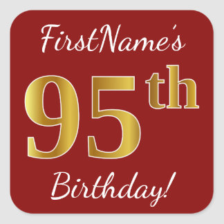 Red, Faux Gold 95th Birthday + Custom Name Sticker