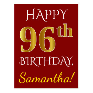 Red, Faux Gold 96th Birthday + Custom Name Postcard