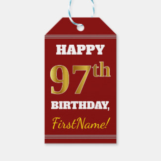 Red, Faux Gold 97th Birthday + Custom Name Gift Tags