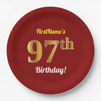 Red, Faux Gold 97th Birthday + Custom Name Paper Plate