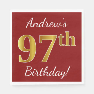 Red, Faux Gold 97th Birthday + Custom Name Paper Serviettes