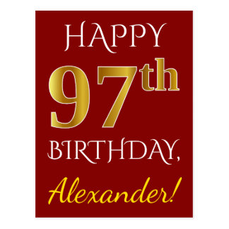 Red, Faux Gold 97th Birthday + Custom Name Postcard