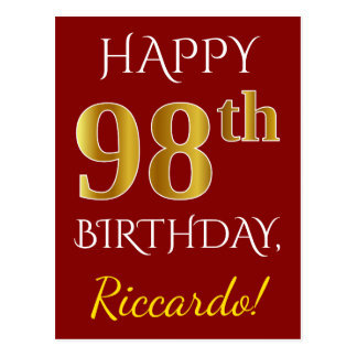 Red, Faux Gold 98th Birthday + Custom Name Postcard