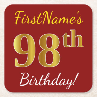 Red, Faux Gold 98th Birthday + Custom Name Square Paper Coaster