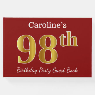 Red, Faux Gold 98th Birthday Party + Custom Name Guest Book