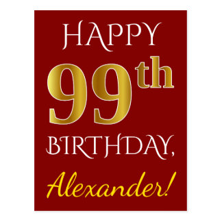 Red, Faux Gold 99th Birthday + Custom Name Postcard