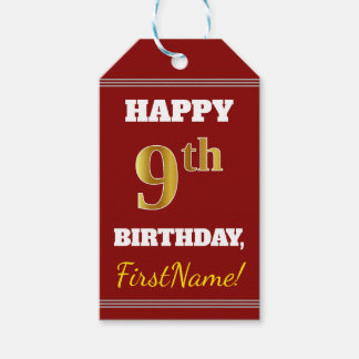 Red, Faux Gold 9th Birthday + Custom Name Gift Tags