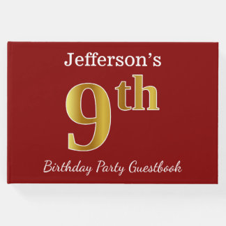 Red, Faux Gold 9th Birthday Party + Custom Name Guest Book