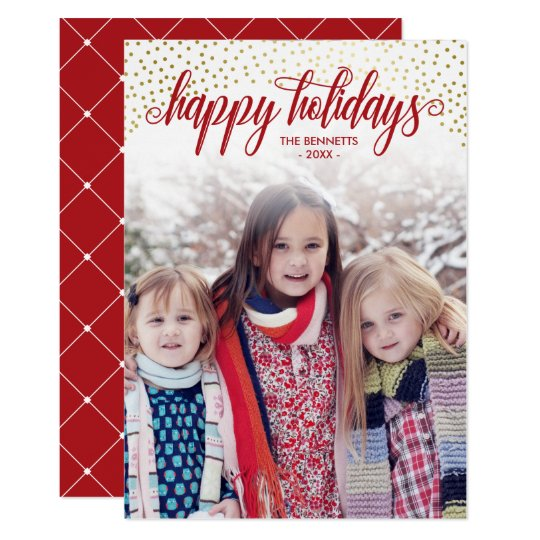 Red & Faux Gold Confetti - Happy Holidays Photo Card