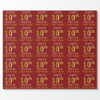 "Red, Faux Gold ""HAPPY 10th BIRTHDAY"" Wrapping Paper"