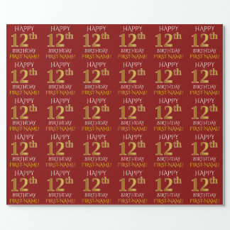 "Red, Faux Gold ""HAPPY 12th BIRTHDAY"" Wrapping Paper"