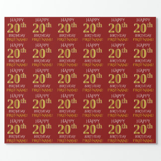 """Red, Faux Gold """"HAPPY 20th BIRTHDAY"""" Wrapping Paper"""