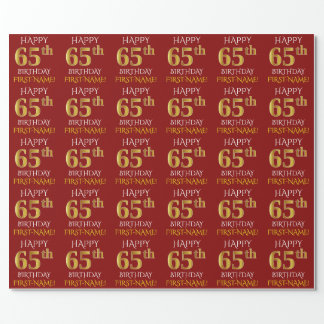 """Red, Faux Gold """"HAPPY 65th BIRTHDAY"""" Wrapping Paper"""