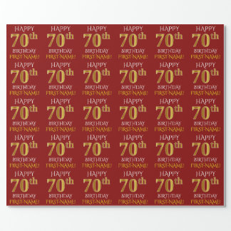 """Red, Faux Gold """"HAPPY 70th BIRTHDAY"""" Wrapping Paper"""