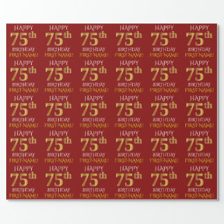 """Red, Faux Gold """"HAPPY 75th BIRTHDAY"""" Wrapping Paper"""