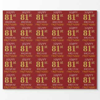 """Red, Faux Gold """"HAPPY 81st BIRTHDAY"""" Wrapping Paper"""