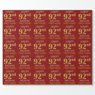 """Red, Faux Gold """"HAPPY 92nd BIRTHDAY"""" Wrapping Paper"""