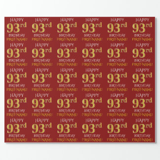 """Red, Faux Gold """"HAPPY 93rd BIRTHDAY"""" Wrapping Paper"""