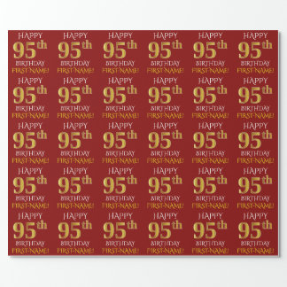 """Red, Faux Gold """"HAPPY 95th BIRTHDAY"""" Wrapping Paper"""
