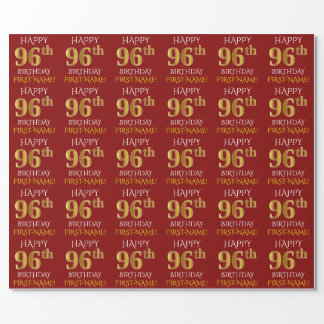 """Red, Faux Gold """"HAPPY 96th BIRTHDAY"""" Wrapping Paper"""