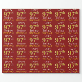 """Red, Faux Gold """"HAPPY 97th BIRTHDAY"""" Wrapping Paper"""