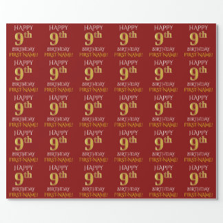 """Red, Faux Gold """"HAPPY 9th BIRTHDAY"""" Wrapping Paper"""