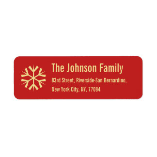 Red Faux Gold Snowflake Christmas Holiday Address Return Address Label