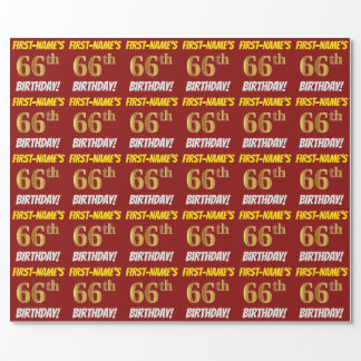 """Red, Faux/Imitation Gold, """"66th BIRTHDAY"""" Wrapping Paper"""