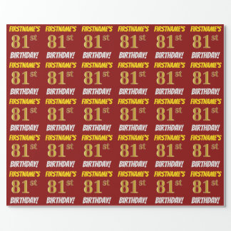 "Red, Faux/Imitation Gold, ""81st BIRTHDAY"" Wrapping Paper"