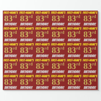 """Red, Faux/Imitation Gold, """"83rd BIRTHDAY"""" Wrapping Paper"""