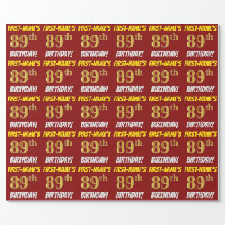"Red, Faux/Imitation Gold, ""89th BIRTHDAY"" Wrapping Paper"