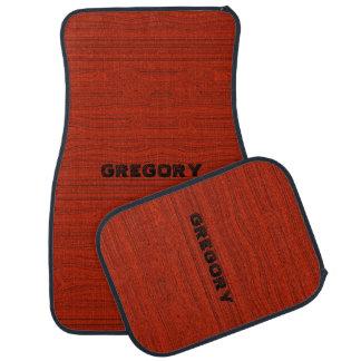 Red Faux Mahogany Wood Texture Look Car Mat