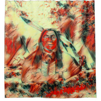 Red Feather Indian Chief Shower Curtain