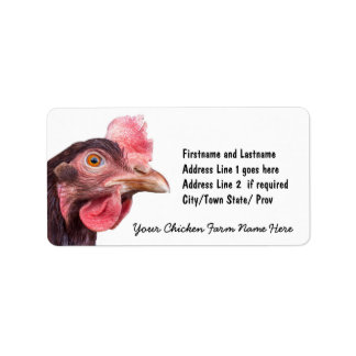 Red Feathered Chicken Egg Layer Hen Address Label