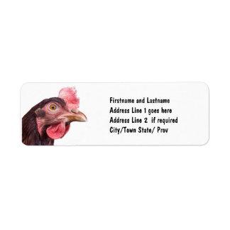 Red Feathered Chicken Egg Layer Hen Return Address Label