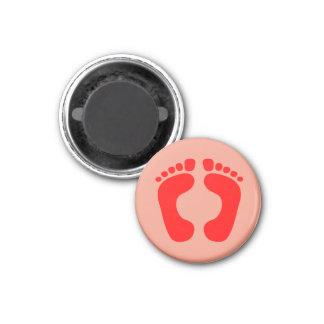 Red Feet 3 Cm Round Magnet