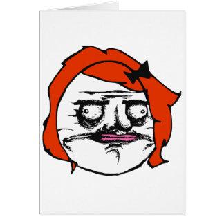 Red Female Me Gusta Comic Rage Face Meme Greeting Card