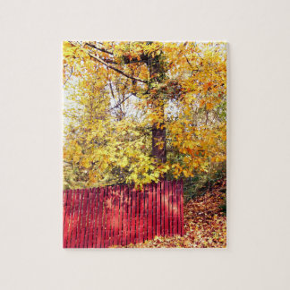 Red Fence And The Big Tree Jigsaw Puzzle
