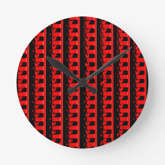 Red Fence Round Clock
