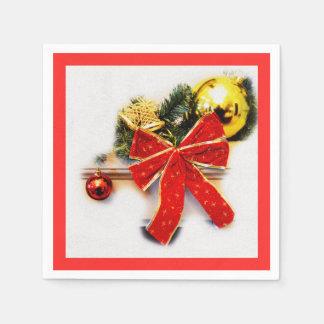 Red festive bow disposable serviette
